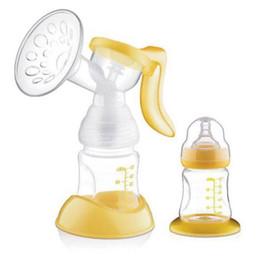 180ml Bomba Manual de Amamentação bomba Baby Milk Silicon Material PP BPA com frasco de leite amarelo