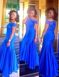 Wholesale 2017 Aso Ebi Styles Robes Tenue de soirée Mermaid Royal Blue Off Shoulder Lace Robes de bal Long Maid Of Honor Robe de demoiselle d honneur BA3548