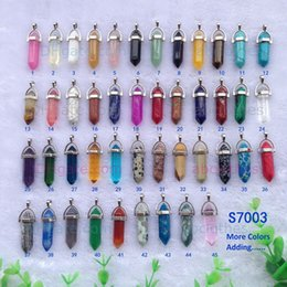 2016 mode Bullet Forme naturelle pierre pendentif colliers Quartz turquoise Cristal gemmes Bijoux pour les femmes hommes Gold Silver Chains Jade