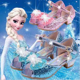 Wholesale 2016 Frozen Shoes Girls Summer Sandal Sequins Heels Bow Pearl Sandals Anna Elsa Cartoon Kids Shoes for Dress Baby Footwear Peep Toe EUR26
