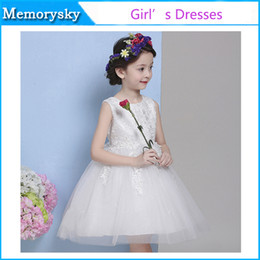 belle princesse Robes Enfants Party Girl Robes Flower Girl Robes Lovely Girls Pageant robe blanche belle robe