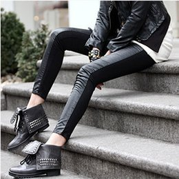 Wholesale leggings for women Brand New Fashion Skinny Pencil Plants Women Cotton and Imitation Leather Spliced Black Ninth Pants SL020