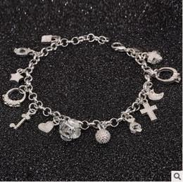Joyería 200pcs LJJC4192 Calidad 13 925 colgante plateado plata Elemento cristalino de la manera encanto de la cruz de la pulsera de alta estrella preciosa pulsera del encanto
