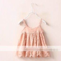 Wholesale New Style Kids Girls Lace Trimmed Embroidered Suspender Tees Ruffles Soild Color Cute Gilrls Top Clothing