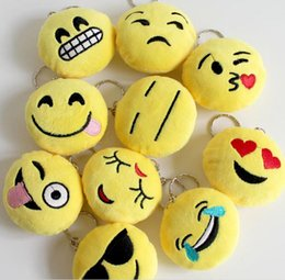 Wholesale QQ emoji plush pendant Key Chains Emoji Smiley Emotion Yellow QQ Expression Stuffed Plush doll toy for Mobile bag pendant