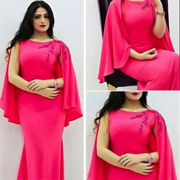 Wholesale 2016 Hot Pink Sheath Evening Dresses Middle East Floor Length Formal Dresses with Capelet Crew Neck Jersey Women Party Dresses