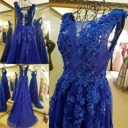 Wholesale 2016 Bateau Blue Evening Dress Lace up With Stain Wow Floor Length Beaded Beautiful With Fiower T show Women Prom Party Gowns