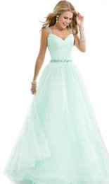 Wholesale Aqua Tulle Sheer Prom Dresses with Beading Straps Vintage New Arrival Ruched Bodice Evening Dress