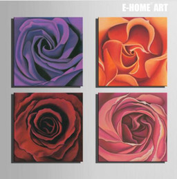 Free Shipping E Home Oil Painting Rose Decoration Painting Set Of 4 Home Decor On Canvas Modern Wall Prints