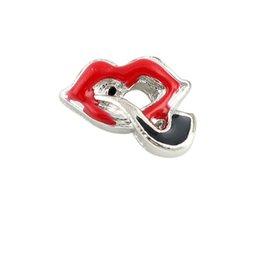 Wholesale 20Pcs Lote Sexy Lábios vermelhos pingentes charmes para flutuante Living Locket Vidro