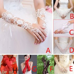 Wholesale New Women Girls Ladies Bridal Gloves Luxury Lace Diamond Crtystal Flower Glove Hollow Wedding Party Dress Accessories Sun Protection