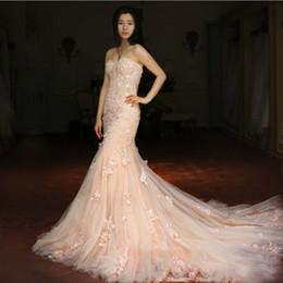 Discount Peach Mermaid Wedding Dresses