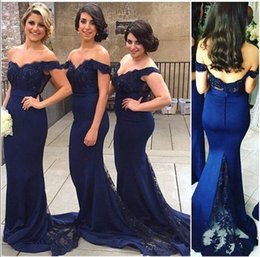 Wholesale Navy Blue Bridesmaid Dress Lace Off Shoulder Mermaid Sweep Train Corset Bridesmaid Dresses Covered Button Back
