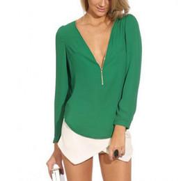 V-cuello profundo de la mujer con la camisa long-sleeved de la gasa de la cremallera La ropa fina de las señoras de la ropa floja de las señoras ocasiona la camiseta para el desgaste al aire libre