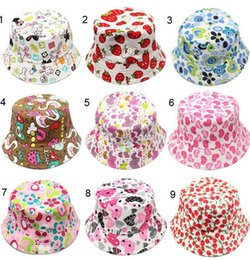 Wholesale Newborn Color Children Bucket Hat Casual Flower Sun Printed Basin Canvas Topee Kids Hats Baby Beanie Caps