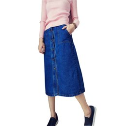 Wholesale NEW arrived fashion denim skirt women casual jean skirt with pocket vintage style good quality blue color denim jeans skirts