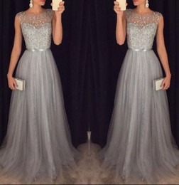 Wholesale Modest Prom Dress Long Unique Beading Ribbon Sash Grey Dress For Teens Plus Size Tulle Evening Formal Party Gowns