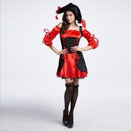 Wholesale New Arrival Luxury Red Black Women Pirate Dress Costume Sexy Costumes d Halloween Uniform Temptation Stage Performance Clothing