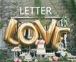 wholesale hot sale 40inch letter balloon goldsilver inflatable foil for wedding birthday party supplies helium globos ballon love