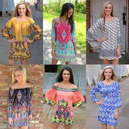 Wholesale Cheapest Summer Dress Floral Print Vintage Women Plus Size Milk Silk Casual Sexy Dress Ice Silk Print Short Beach Dress