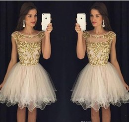 Wholesale 2016 Champagne Short Prom Dresses Sheer Crew Neck Cap Sleeves Homecoming Dresses with Gold Embroidery Backless Mini Cocktail Dresses