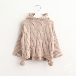 Wholesale New Baby Girls Knit Hooded Pullovers Kids Girls Crochet Knitting Sweater Girl Autumn Winter Jumper Tops Babies Clothing