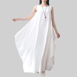 Wholesale 2016 Summer Dress Women Dress Elegant Loose Sleeveless O Neck Dress Cotton Linen Boho Long Maxi Dresses Vestidos Plus Size