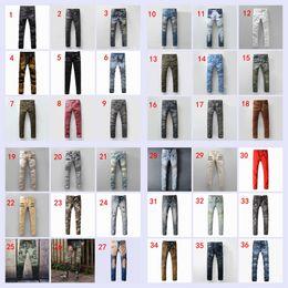 Wholesale 37 Colors New balmain jeans for Men Runway Biker Straight Skinny Denim Trousers Cowboy Famous Brand Slim Designer Mens Joggers Pants