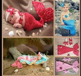 Wholesale Baby Photo Photography Prop Outfits set Crochet Mermaid Swaddles Knit Costume Wraps Newborn Blankets Headband color KKA284