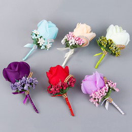 Wholesale Hot Sale Bridesmaid Rose Silk Corsage Gentleman Rose Boutonniere Artificia Wedding Bouquets Groom Groomsman Bouquet Silk Flower JM0180
