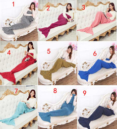 Wholesale Mermaid Tail Blanket Super Soft Hand Crocheted cartoon Sofa Blanket air condition blanket siesta blanket X90cm