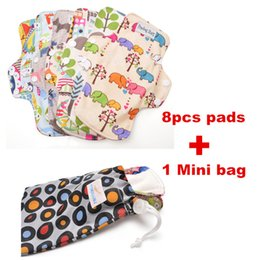 Wholesale 8 Pads Mini Wet Bag quot Regular Bamboo Fiber Cloth Menstrual Pad Sanitary Napkin Breathable Reusable Washable Sanitary Pad