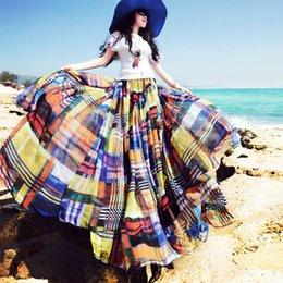 Wholesale 2016 conception originale de haute qualité Bohemia treillis Bohemia Plaid Mousseline de soie mode élégant Jupes longues doux irrégulier plissé Maxi jupes