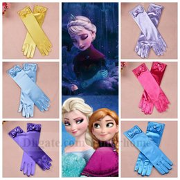 Wholesale Girls Princess Gloves Frozen Elsa Gloves Wedding Dress Gloves Fancy Party Gloves Bowknot Halloween Christmas Costume Accessories B922