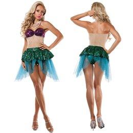 Wholesale 2016 trajes de Halloween femenino atractivo de la sirena sin tirantes cospaly actuaciones ropa de fiesta de la mascarada de la etapa Trajes