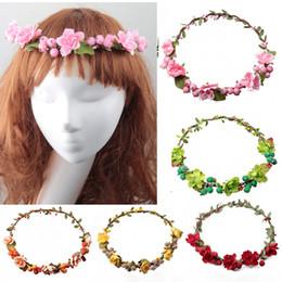 Discount wreath accessories Rattan Artificial Berries Flower Headpiece Headband Hairband Head Wreath DIY Floral Bridal Garland Crown Halo Wedding Hair Accessories