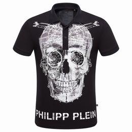 Wholesale Mens Classic Solid Color Lapel Men T Shirt Short Sleeve Tee Skull T Shirt Philipp Plein Polos PP T Shirts M L XL XXL XXXL