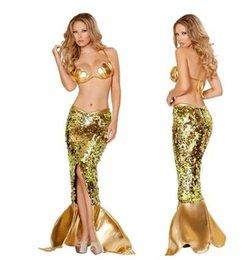 Wholesale Mujeres atractivas del traje de Víspera de Todos los Santos que usan la cola de la sirena de la sirena de los cequis del fuax del oro que llevan el franqueo libre de cuero de dos vestidos