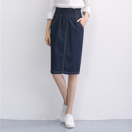 Straight Denim Skirt Knee Length Online | Straight Denim Skirt ...