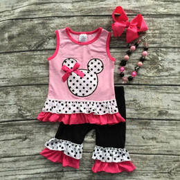 Wholesale 2016 new hot sell baby girls pink minnie mouse capris clothes set outfits with matching necklace and bow set