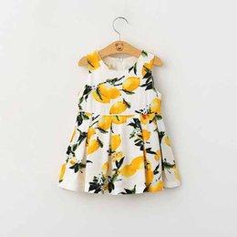 Wholesale Childrens Summer Fashion A line Dress Two Colors Girls Sleeveless Lemon Printed Elegant Sundress Kids Korean Style Clothes