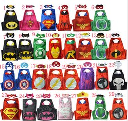 Wholesale Double Halloween Capes and mask set The Avenger Ninja Star Wars capes mask set Superman Frozen Cinderella for Kids CM