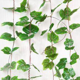 2 7m Burgundy Plastic Grape Leaf Green Leaves Wall Ornament Fake Artificial Ivy Hanging Vines Garland Home Wedding Decor