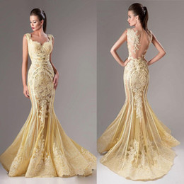 Wholesale 2016 Tarik Ediz Beads Mermaid Evening Dresses Lace Applique Scoop Neck Crystal Prom Dress Sleeveless Vintage Long Red Carpet Gowns