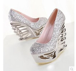 Discount Silver Wedge High Heel Prom Shoe | 2017 Silver Wedge High