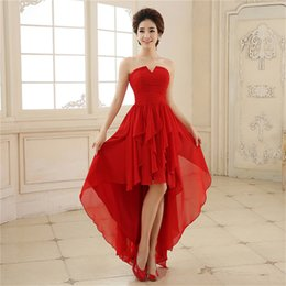 Wholesale Short Front Long Back Prom Dress Strapless Zip Back Pleats Ruched Red High Low Made in China Party Gown