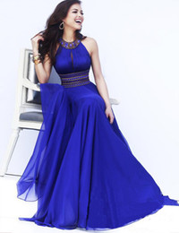 online shopping Bridesmaid Dresses Halter Floor Length Chiffon Sexy Long Sleeveless A Line Wedding Guests Gowns