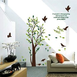 1 pc New Arrival Wall Sticker 8 Black Birds & Tree Removable PVC Mural Decal DIY kids Home Room hall Decor