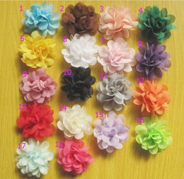 Wholesale hair accessories kids bows flower baby girls hair clip Headwear boutique Mini quot Chiffon Fabric Flowers with clip DIY HD3232
