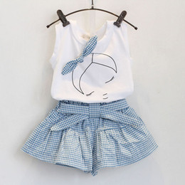 Wholesale 2016 new summer lovely girls Short Sleeve T Shirt grid pantskirt set Children Outfits baby kids girl bowknot headband clothes